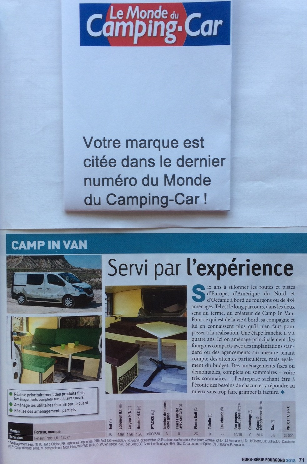 Parution Le Monde du Camping-Car